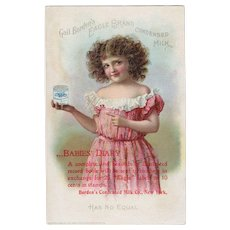 Victorian Era circa 1899 Borden's Eagle Brand Condensed Milk Trade Card