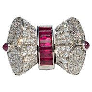 1940s Platinum 4 carat Cocktail Ring with Swivelling Diamond or Ruby