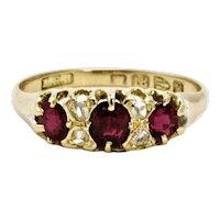 Victorian Three-Stone Ruby and Diamond 18 Carat Yellow Gold Ring