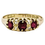 Victorian Three-Stone Ruby and Diamond 18 Carat Yellow Gold Ring