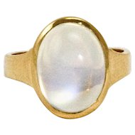 22 Carat Yellow Gold Moonstone Signet or Gypsy Pinky Ring