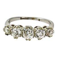 Edwardian Platinum 1.5 Carat Diamond Five-Stone Ring