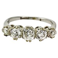 Edwardian Platinum 1.5 Carat Diamond Five-Stone Ring