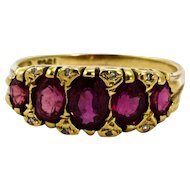 Victorian 18 Carat Gold Ruby and Diamond Five-Stone Half Hoop Ring