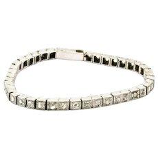 18 Carat White Gold Rose Cut Diamond Victorian Tennis Bracelet