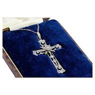 French Edwardian White, Yellow Gold and Platinum Diamond Cross Pendant Necklace
