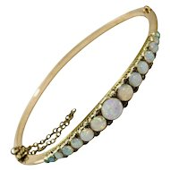 Victorian 15 Carat Opal and Diamond Bangle Bracelet