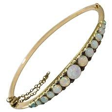 Victorian 15 Carat Opal and Diamond Bangle Bracelet