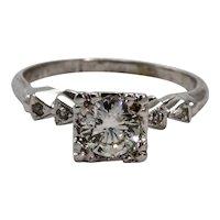 Art Deco Platinum Solitaire Diamond Engagement Ring