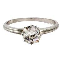 Art Deco Platinum Diamond Solitaire Engagement Ring