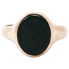 Men's Yellow Gold English Art Deco Bloodstone Signet Ring