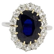 Edwardian 3 Carat Platinum Sapphire and Diamond Cluster Ring