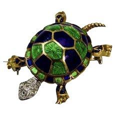 Vintage 18 Carat Gold Diamond and Enamel Turtle Brooch/Pin