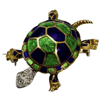 Vintage 18 Carat Gold Diamond and Enamel Turtle Brooch/Pin