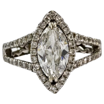GIA Certified 1.58 Carat D SI2 Platinum Marquise Diamond Engagement Ring