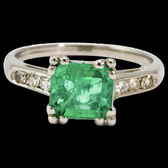 Art Deco Diamond and Platinum Emerald Ring