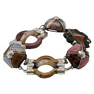 Victorian Scottish Agate Silver Link Bracelet, circa 1880