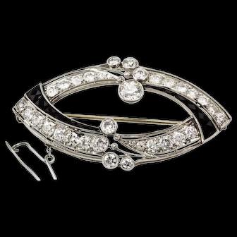Platinum Art Deco 6.14 carat Diamond and Onyx Brooch Pin