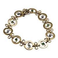 French Art Nouveau 18 Carat Yellow Gold Diamond and Emerald Bracelet