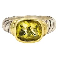 David Yurman Green Tourmaline Silver and 14 Karat Gold Ring