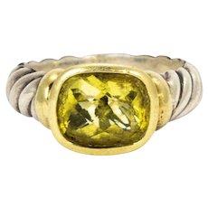 David Yurman Green Tourmaline Silver and 14 Karat Gold Ring