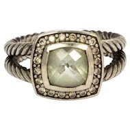 David Yurman Prasiolite Diamond and Silver Cable Band Ring