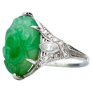 Art Deco Carved Jade and Diamond Platinum Ring