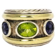 David Yurman Peridot Amethyst Silver and 14 Karat Yellow Gold Ring