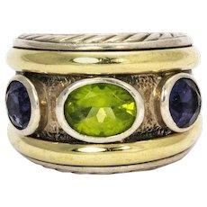 David Yurman Peridot Amethyst Silver and 14 Karat Yellow Gold Ring