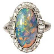 1960s Opal Cabochon and Diamond Platinum Ring