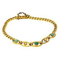 Edwardian English Turquoise and Pearl 15 Carat Gold Bracelet