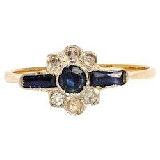 Art Deco Sapphire and Diamond Gold Ring
