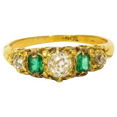 Vintage Diamond and Emerald 18 Carat Gold Five-Stone Ring