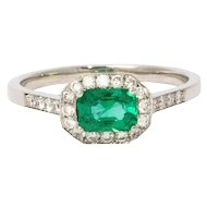 1960s Emerald Diamond Halo Platinum Ring