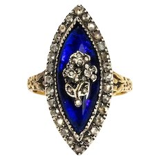 Georgian Bristol Blue Glass and Diamond 18 Carat Gold Ring