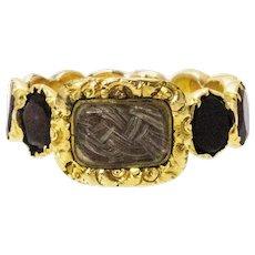 Georgian Flat Cut Garnet 15 Carat Gold Mourning Ring
