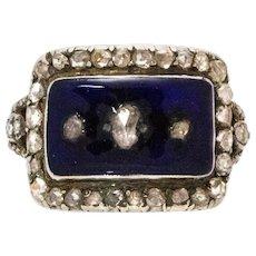 Georgian Diamond and Enamel Gold Panel Ring