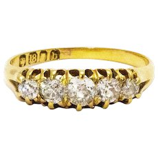 Edwardian Diamond Five-Stone 18 Carat Gold Five-Stone Ring