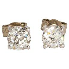 Vintage 18 Karat White Gold Diamond Stud Earrings (Total Carat Weight 1.30)