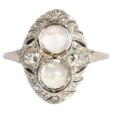 Edwardian Diamond and Moonstone 14 Carat Gold and Platinum Ring
