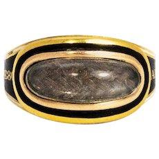 Georgian Enamel and Cabochon Crystal 18 Carat Gold Mourning Ring