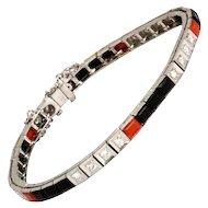 Art Deco Diamond, Onyx and Coral 18 Karat White Gold Tennis Bracelet