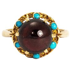 Edwardian Cabochon Garnet and Turquoise 9 Carat Gold Ring