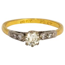 Vintage Diamond 18 Carat and Platinum Ring