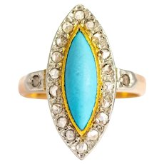 Antique Turquoise and Rose Cut Diamond 18 Carat Gold Marquise Ring