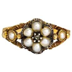 Late Georgian Pearl and Diamond 15 Carat Cluster Locket Back Ring
