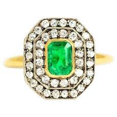 Edwardian Emerald and Diamond 18 Carat Gold and Platinum Panel Ring