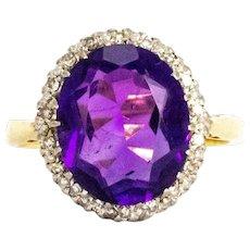 Vintage Amethyst and Diamond Halo 18 Carat Gold Ring