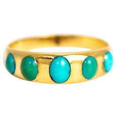 Vintage Turquoise and 18 Carat Gold Five-Stone Band