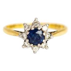 Vintage Sapphire and Diamond Flower Cluster 18 Karat Gold and Platinum Ring
